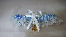 Wedding Ceremony Military Ships Anchor Beach Ocean Blue Satin & Lace Garter