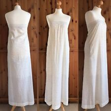 Swildens Ivory White Cotton Polka Dot Strapless Pockets Summer Maxi Dress 8 10