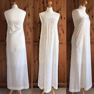 Swildens Ivory White Cotton Polka Dot Strapless Pockets Summer Maxi Dress 8 10