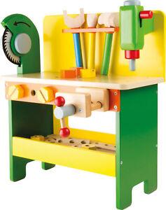Holz Werkbank Holzwerkbank Werkzeugen Kinderwerkbank mit Kreissäge Schraubstock