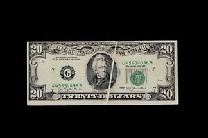 1977 Chicago $20 Federal Reserve Note Gutter Fold Error Choice VF+