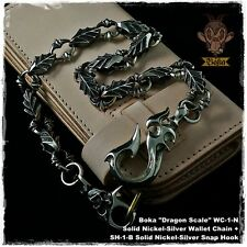 Boka Custom Biker Wallet Chain Dragon Scale Nickel Silver White Brass Cool Men