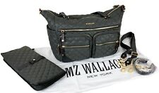 MZ WALLACE Crosby Diaper Tote Gray Magnet Changing Pad Quilted Nylon Travel Bag