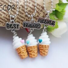 3PCS/Set Friendship Ice Cream Necklace For Children Best Friends Forever Jewelry