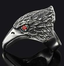 EAGLE HEAD RED CRYSTAL EYES STAINLESS STEEL RING size 7 silver metal S-530 biker