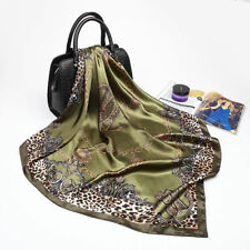 Fashion Leopard Chain Printed Silk-Satin Head Square Scarves Shawl Wrap