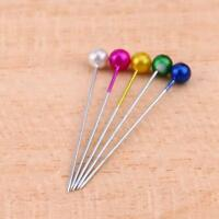 100pcs Head Colorful Round Pearl Corsage Embroidery Sewing Straight Pins 1.57''