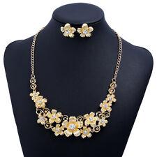 Fashion Pendant Chain Gold Crystal Flower Choker Chunky Statement Bib Necklace