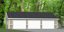 40x30 3-Car Garage -- 1,200 sq ft -- PDF Floor Plan -- Model 2A