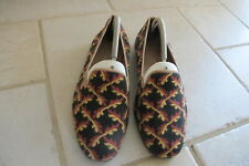Stubbs and Wootton Men's Needlepoint Shoes.Black with Red /Gold. Size 8.5m.