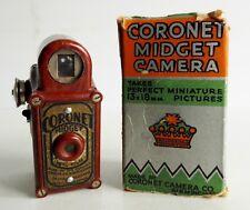 VERY RARE OLD CORONET MIDGET MINIATURE CAMERA - RED BAKELITE - ORIGINAL BOX