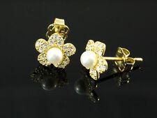 333 Gold Ohrstecker Blumen Perlen mit Zirkonia Steinen 7,5 mm 1 Paar