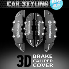 4pcs Black Disc Brake Caliper Covers Kit 3D Styling Front & Rear For Volkswagen