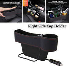 Car Right Side Seat Gap Storage Box Crevice Organizer Pocket Dual USB Cup Holder
