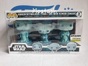 Funko Pop Star Wars Force Ghost - Anakin, Yoda, Obi-Wan Kenobi GITD endor 3 Pack