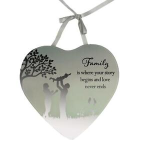 Reflections Mirror Glass Hanging Heart Plaque Gift – Family