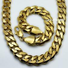 "Set 18K Yellow Gold Filled Mens Necklace/bracelet Curb Chain 23.6"" 15mm (n276b)"