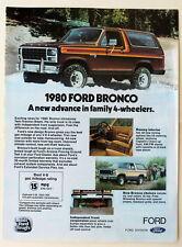 1980 Ford Bronco Vintage Magazine Print Ad