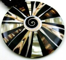 """Natural Mother of Pearl Shell Shiva Eye Pendant 18"""" Beads necklace Jewelry BA311"""