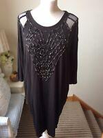 BIBA Black Bead Embellished Tunic Dress Scoop Neck 3/4 Long Sleeves Size 10