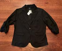 NWT Torrid Women's Black Ponte Knit Blazer Rouched 3/4 Sleeves Two Button Sz 2