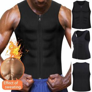 Men Sauna Sweat Tank Top Neoprene Waist Trainer Body Shaper Gym Weight Loss Vest