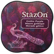 New STAZ-ON  Rubber stamp SOLVENT Inkpad GOTHIC PURPLE free US ship