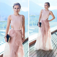 $498 BCBG Avalon Bare Pink Blush Pleated Tulle Gown Prom Dress Size 12 Large L