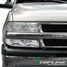CRYSTAL CHROME CLEAR HEAD LIGHTS LAMPS DY 99-02 SILVERADO/00-06 TAHOE SUBURBAN