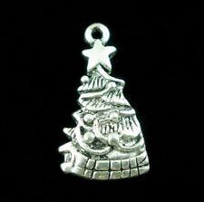 5 x Tibetan Silver Christmas Tree Pendant Charms Xmas 25mm