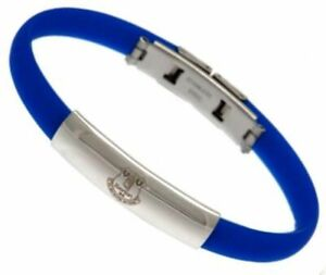 Everton FC Colour Silicone Bracelet Stainless Steel Crest & Clasp Licensed Item