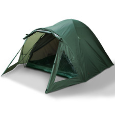 CARP FISHING 2 MAN BIVVY TENT DOUBLE SKINNED WATERPROOF GREEN SHELTER WITH PEGS