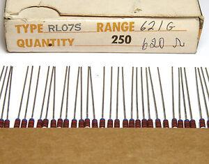 200x TRW RL07S Widerstand, 620 Ohm / 0.25 W, Vintage IRC Resistors, NOS