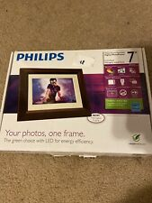 "Philips 7"" LED Mahogany Digital Picture Frame NEW Unopened"