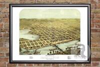 Vintage Hastings, MN Map 1867 - Historic Minnesota Art Old Victorian Industrial