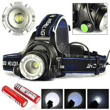 30000LM Zoomable CREE T6 LED Headlamp Rechargeable Headlight + 18650 Battery DA
