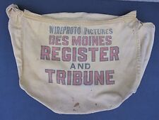 VINTAGE MID CENTURY WIRE PHOTO SATCHEL BAG DES MOINES IA REGISTER TRIBUNE RARE