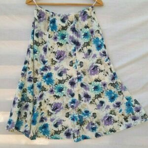 Vintage 1980s A-line Floral Skirt Blue and Purple on White Made in Australia 14