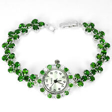 Sterling Silver 925 Genuine Natural Rich Green Chrome Diopside Watch 71/2 Inch