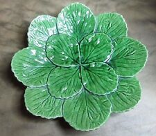 ANTIQUE MAJOLICA POTTERY AFRICAN VIOLET leaves PLATE PORTUGAL 773-G BORDALLO