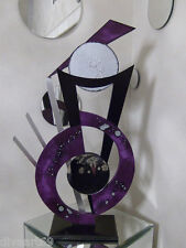 Purple passion Abstract Sculpture, Wood Metal & Mirror Modern table Sculpture
