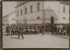 France, Orchestre militaire devant une caserne, ca.1900, Vintage citrate print V