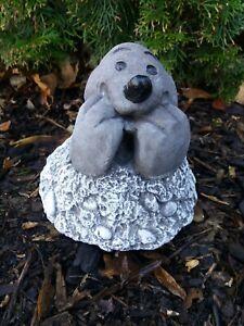 Steinfigur süßer Maulwurf in Hügel  Frostfest Steinguss Garten Deko Mauli Tier