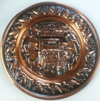 Vintage Mid Century Wall Decor Plate~Family at Well~By Coppercraft Guild in Mass