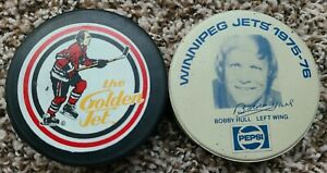 Bobby Hull Chicago Blackhawks Commemorative The Golden Jet & WHA Jets Pepsi Puck