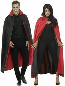HALLOWEEN ADULT REVERSIBLE CAPE  long Red Black Witch Devil Dracula USA  NEW