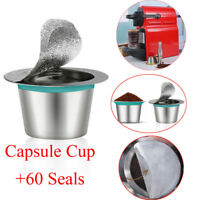 Nespresso Machines Reusable Stainless Steel Refill Coffee Capsulas 1Cup & 60Seal