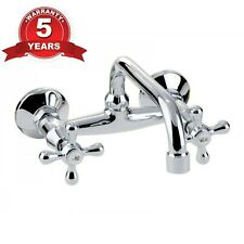 TRADITIONAL VICTORIAN RETRO BASIN BATH KITCHEN MIXER TAP WALL MOUNTED CROSS HEAD