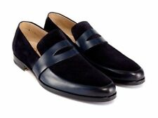 Handmade Men two tone Shoes moccasins, Men Navy blue and and black suede shoes