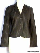 NWT CAbi Lined LS Cropped NOB Hill Jacket #396 Gray/Black White Pinstripe Size 4